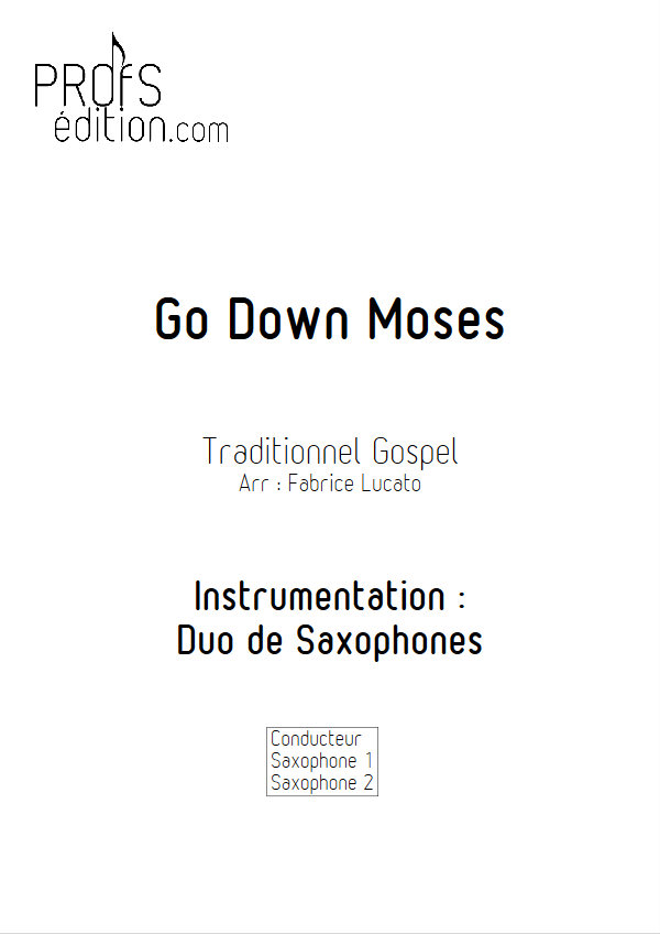 Go Down Moses - Duo de Saxophones - TRADITIONNEL GOSPEL - page de garde