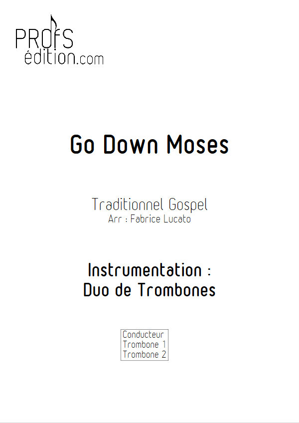 Go Down Moses - Duo de Trombones - TRADITIONNEL GOSPEL - page de garde