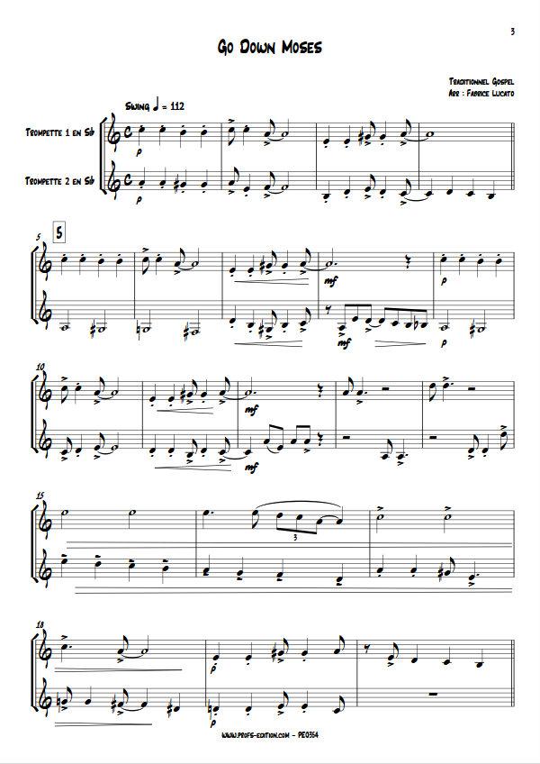 Go Down Moses - Duo de Trompettes - TRADITIONNEL GOSPEL - Partition
