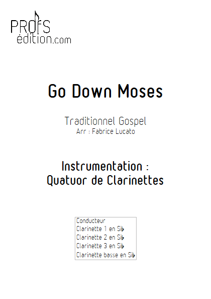 Go Down Moses - Quatuor de Clarinettes - TRADITIONNEL GOSPEL - page de garde