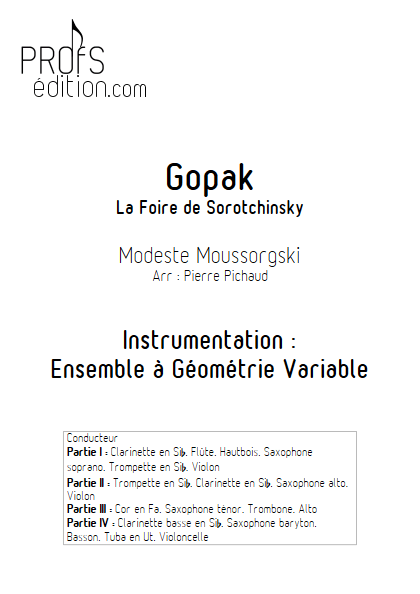 Gopak - Ensemble à Géométrie Variable - page de garde