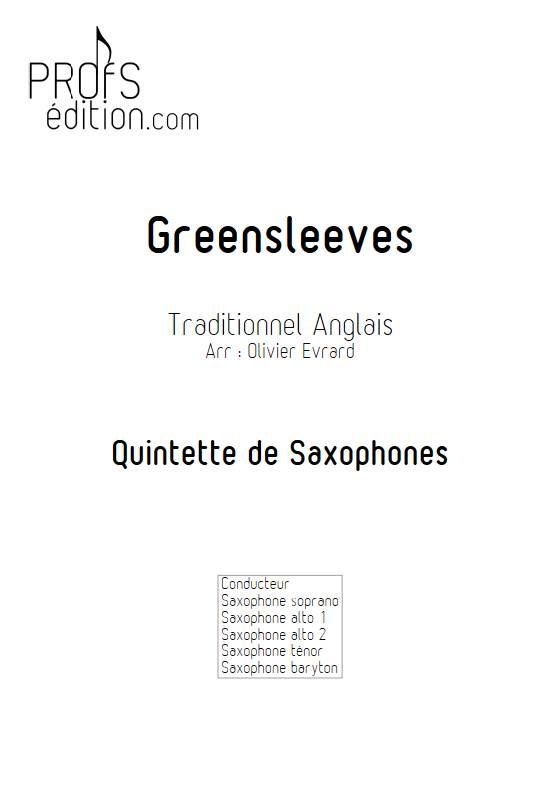 Greenleeves - Quintette de Saxophones - TRADITIONNEL ANGLAIS - page de garde