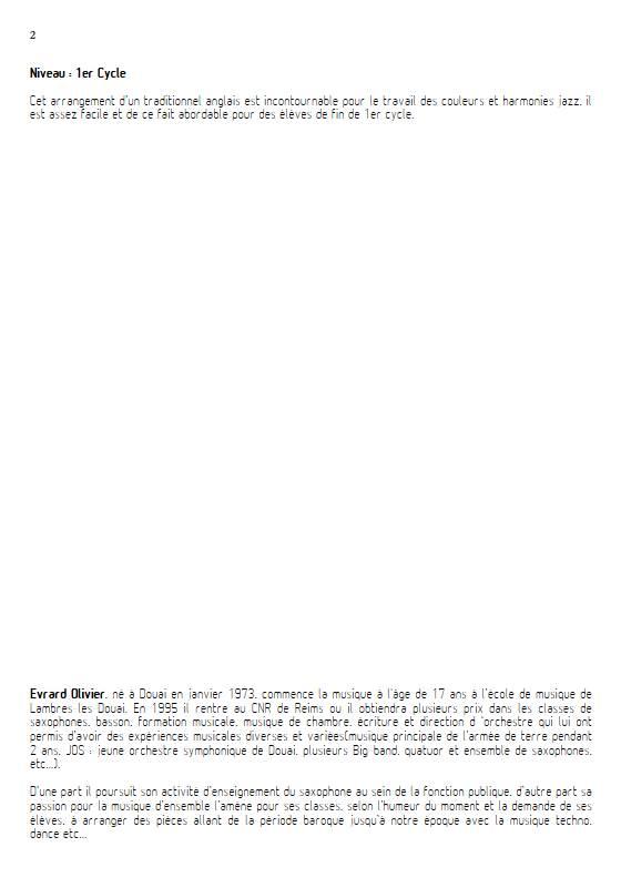 Greenleeves - Quintette de Saxophones - TRADITIONNEL ANGLAIS - Fiche Pédagogique