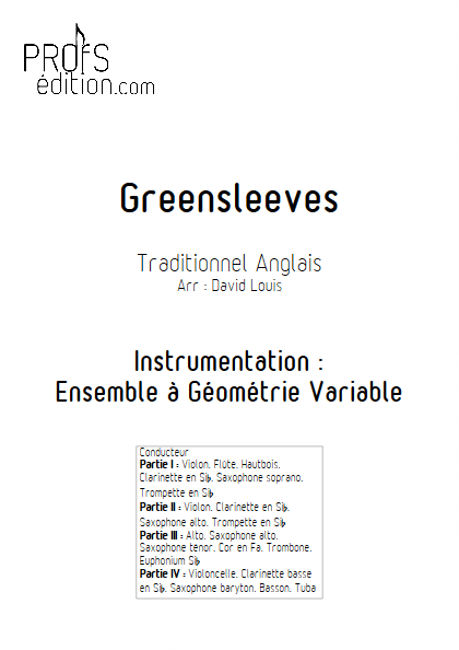 Greensleeves - Ensemble à Géométrie Variable - TRADITIONNEL ANGLAIS - page de garde