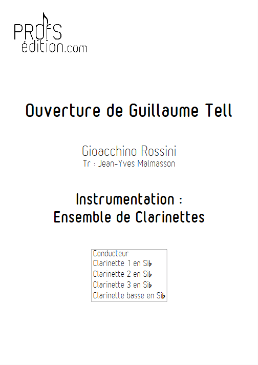 Guillaume Tell - Ensemble de Clarinettes - ROSSINI G. - page de garde