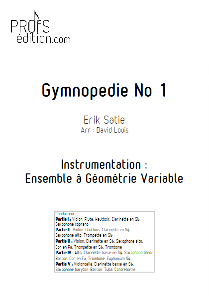 Gymnopédie N°1 - Ensemble à Géométrie Variable - SATIE E. - page de garde