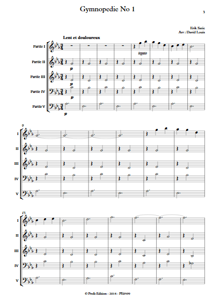 Gymnopédie N°1 - Ensemble à Géométrie Variable - SATIE E. - app.scorescoreTitle