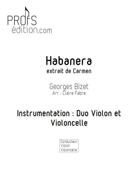 Habanera - Duo Violon Violoncelle - BIZET G. - page de garde