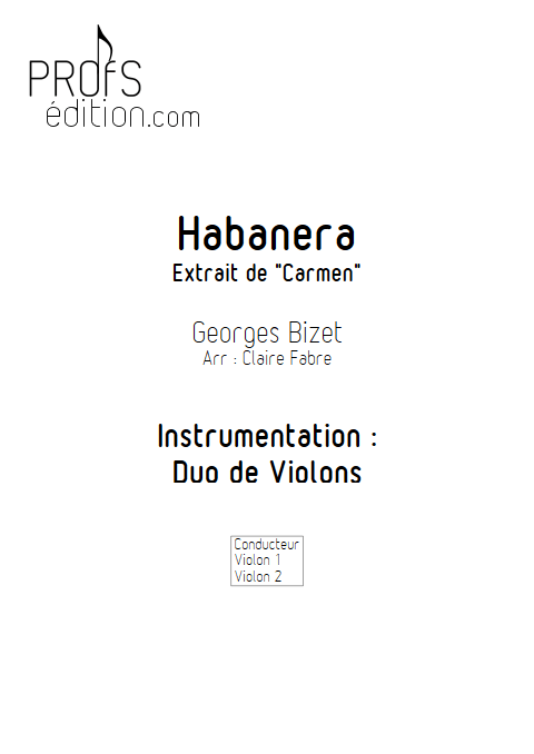 Habanera - Duo Violons - BIZET G. - page de garde