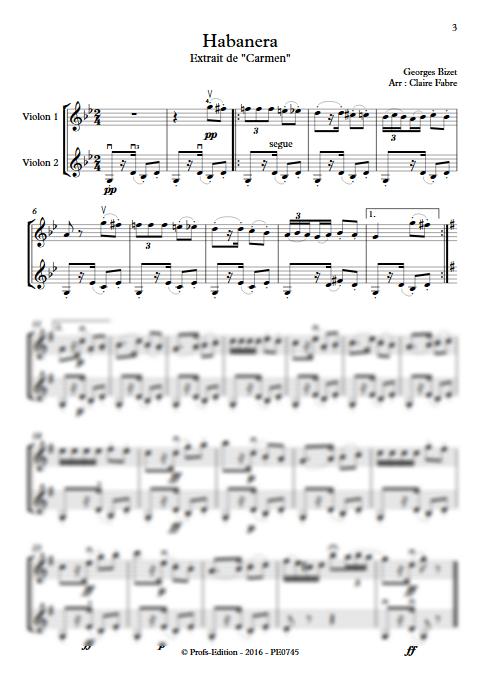 Habanera - Duo Violons - BIZET G. - Partition