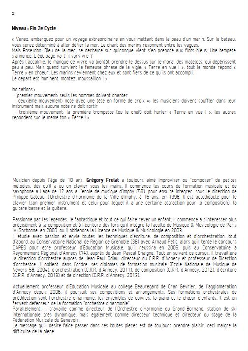 Hisse & Ho - Ensemble de Cuivres - FRELAT G. - Fiche Pédagogique