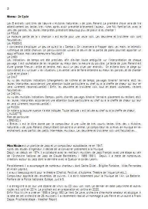 Histoires Naturelles - Chœur et Piano - NISSIM M. - Fiche Pédagogique