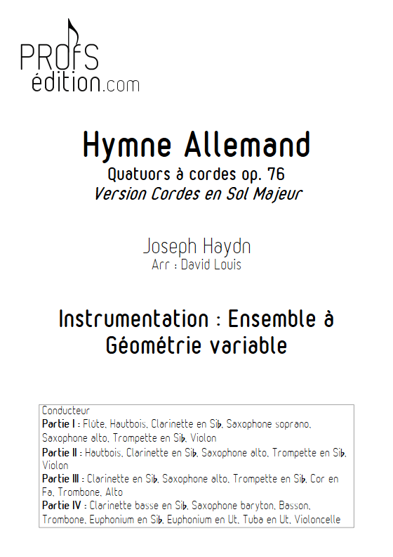 Hymne Allemand - Ensemble à Géométrie Variable - HAYDN J. - page de garde