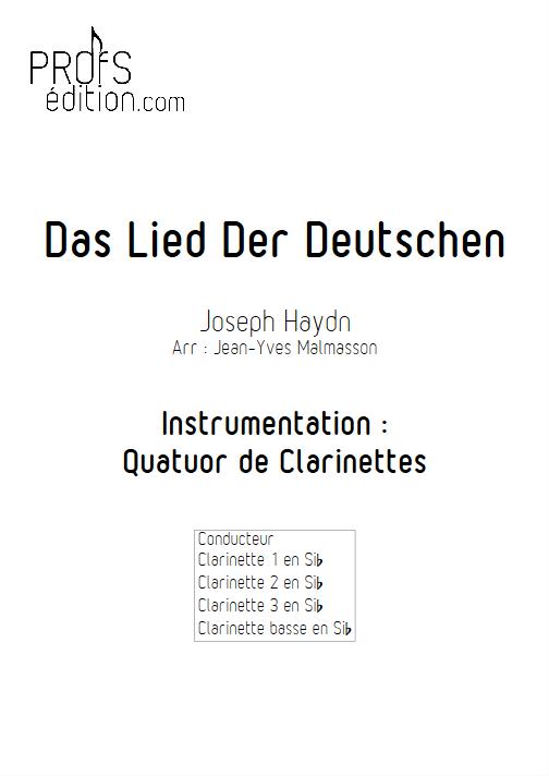 Hymne Allemand - Quatuor de Clarinettes - HAYDN J. - page de garde