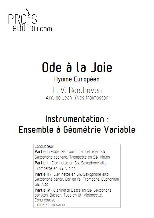 Hymne Européen - Ensemble à Géométrie Variable - BEETOVEN L. V. - page de garde