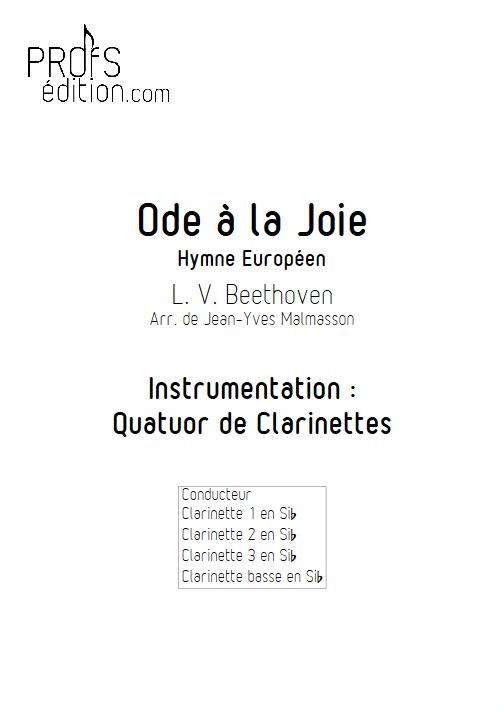 Hymne Européen - Quatuor de Clarinettes - BEETHOVEN L. V. - page de garde