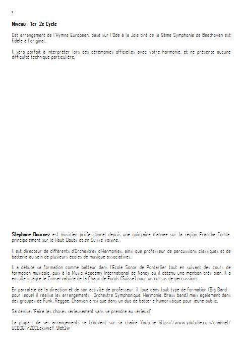 Hymne Européen - Orchestre d'Harmonie - BEETHOVEN L. V. - Fiche Pédagogique
