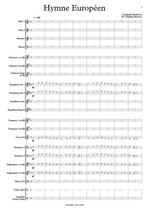 Hymne Européen - Orchestre d'Harmonie - BEETHOVEN L. V. - app.scorescoreTitle