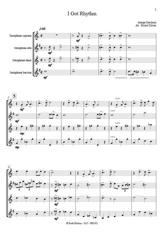 I got Rythm - Quatuor de Saxophones - GERSHWIN G. - Partition