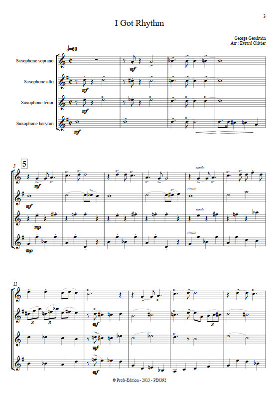 I got Rythm - Quatuor de Saxophones - GERSHWIN G. - app.scorescoreTitle
