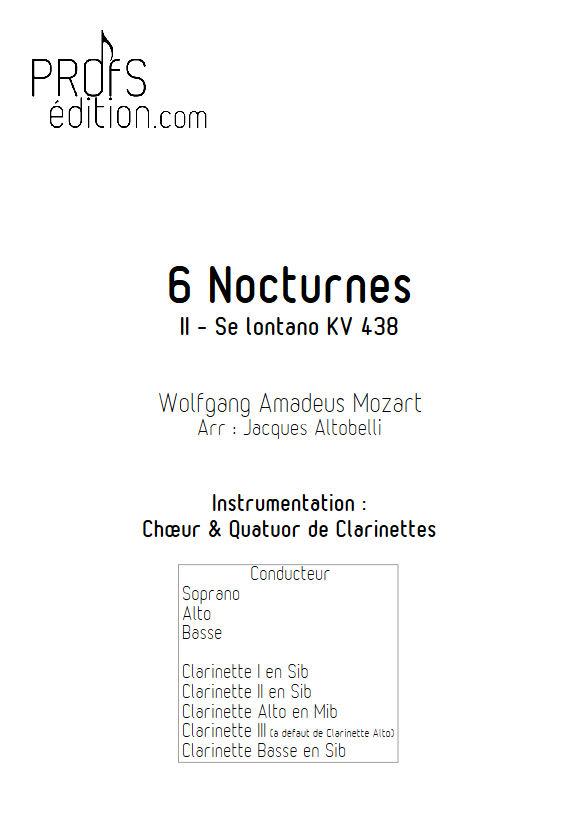 Se lontan ben mio KV 438 - Chœur & Quatuor Clarinettes - MOZART W. A. - page de garde