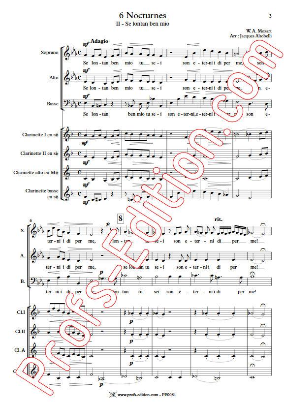 Se lontan ben mio KV 438 - Chœur & Quatuor Clarinettes - MOZART W. A. - app.scorescoreTitle
