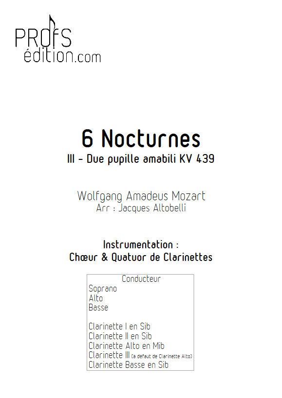 Due pupille amabili KV 439 - Chœur & Quatuor Clarinettes - MOZART W. A. - page de garde