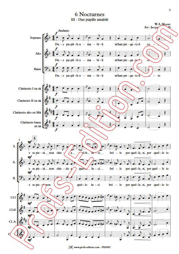 Due pupille amabili KV 439 - Chœur & Quatuor Clarinettes - MOZART W. A. - Partition