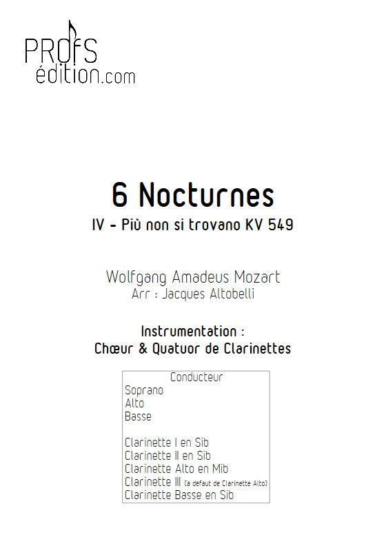 Più non si trovano KV 549 - Chœur & Quatuor Clarinettes - MOZART W. A. - page de garde