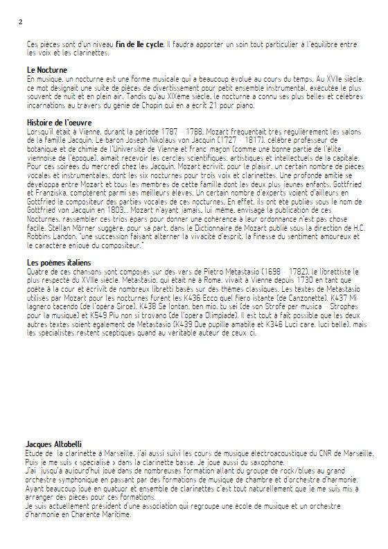 Più non si trovano KV 549 - Chœur & Quatuor Clarinettes - MOZART W. A. - Fiche Pédagogique