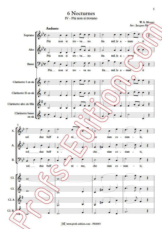 Più non si trovano KV 549 - Chœur & Quatuor Clarinettes - MOZART W. A. - app.scorescoreTitle