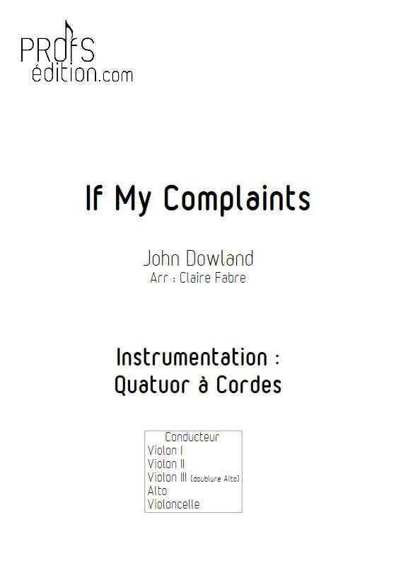 If My Complaints - Quatuor à Cordes - DOWLAND J. - page de garde