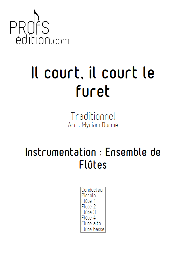 Il court le furet - Ensemble de Flûtes - TRADITIONNEL - page de garde