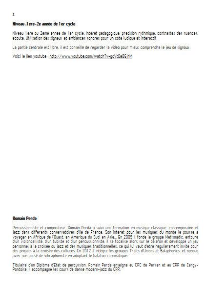 Intempéries - Sextette Percussions - PERDA R. - Fiche Pédagogique