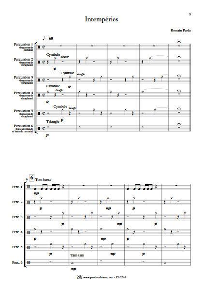 Intempéries - Sextette Percussions - PERDA R. - Partition