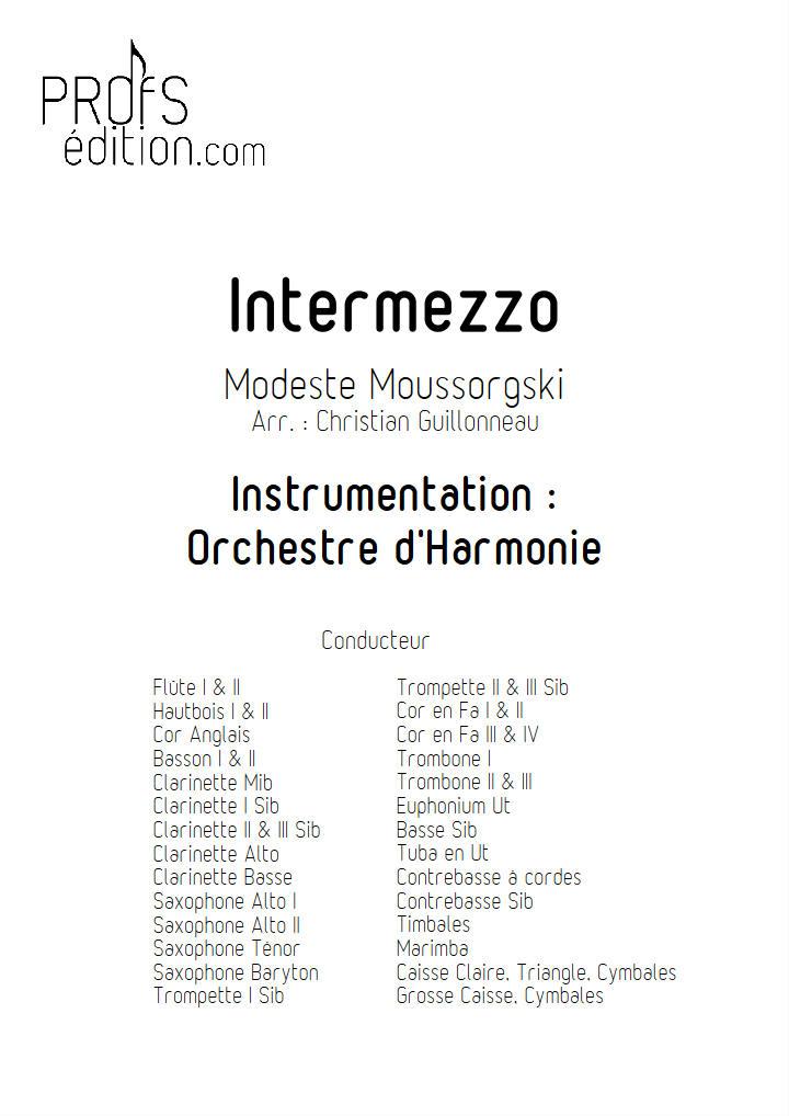 intermezzo in modo classico - Orchestre Harmonie - MOUSSORGSKY M. - page de garde