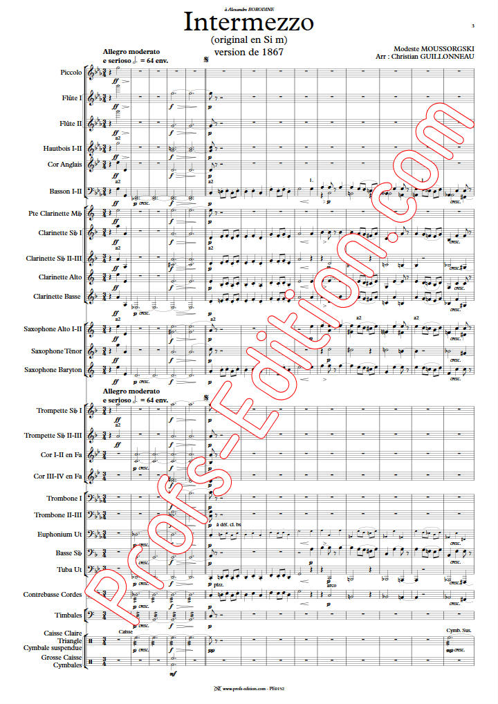 intermezzo in modo classico - Orchestre Harmonie - MOUSSORGSKY M. - Partition