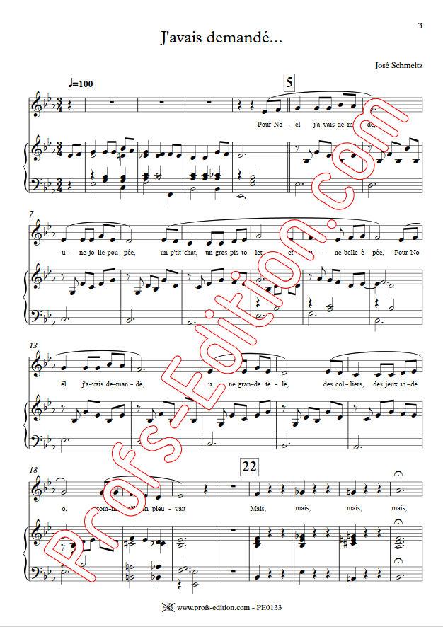 J'avais demandé - Chant & Piano - SCHMELTZ J. - Partition