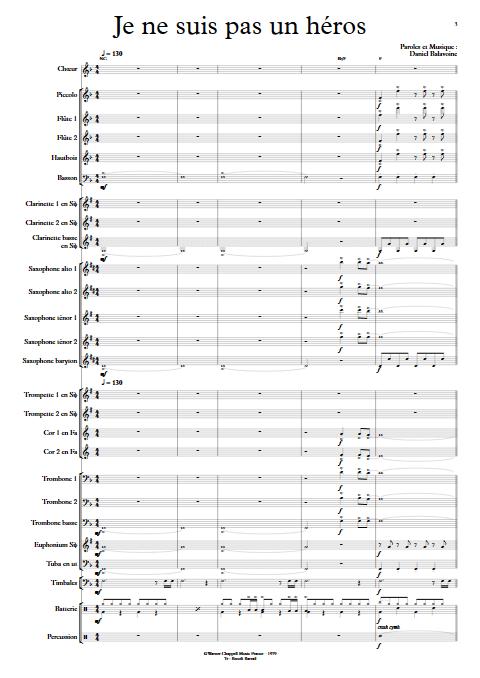 Je ne suis pas un héros- Orchestre d'Harmonie - BALAVOINE D. - Partition