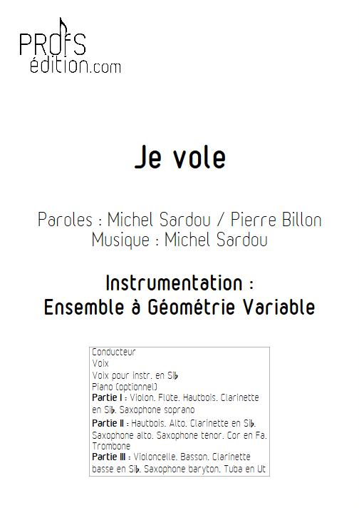 Je Vole - Ensemble à Géométrie Variable - SARDOU M. - page de garde
