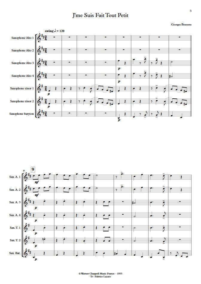 J'me suis fais tout petit - Ensemble de Saxophones - BRASSENS G. - Partition
