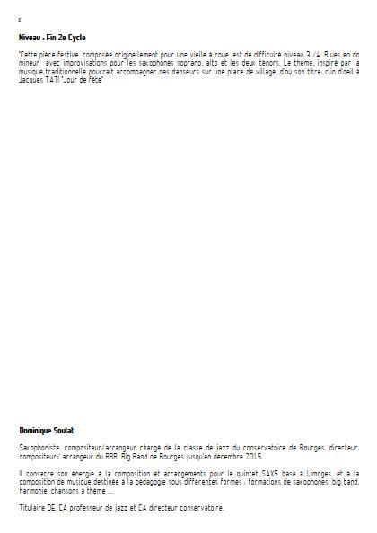 Jour de fête - Quintette de Saxophones - SOULAT D. - Fiche Pédagogique