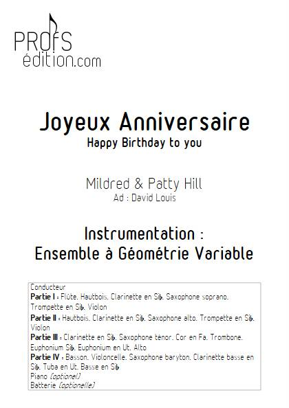 Joyeux Anniversaire (Happy Birthday) - Ensemble Variable - HILL P.S. & M. - page de garde