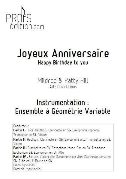Joyeux Anniversaire (Happy Birthday) - Ensemble Variable - HILL P.S. & M. - page de garde