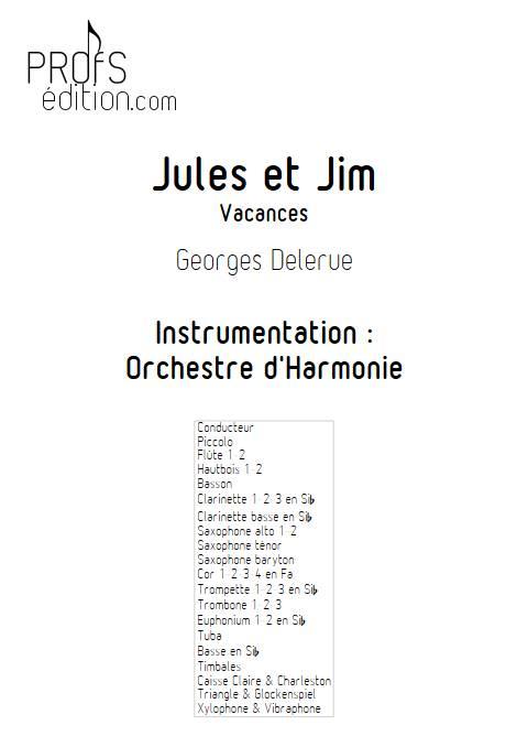 Jules et Jim (Vacances) - Orchestre d'Harmonie - DELERUE G. - page de garde