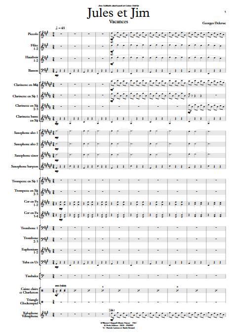 Jules et Jim (Vacances) - Orchestre d'Harmonie - DELERUE G. - Partition
