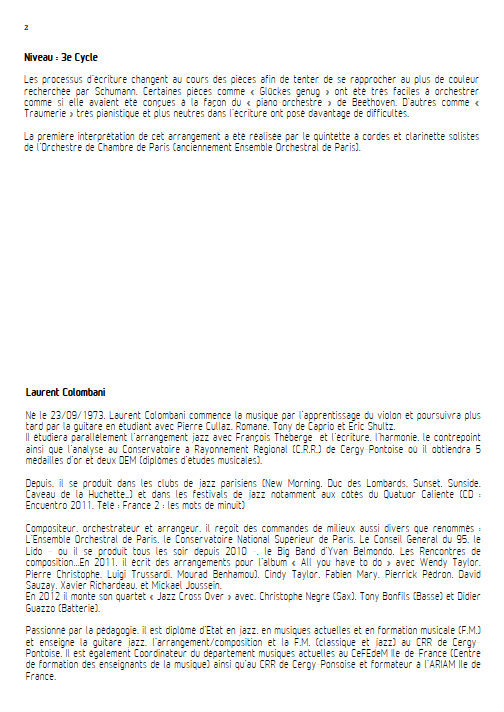 Kinderszenen - Quintette à Vents - SCHUMANN R. - Fiche Pédagogique