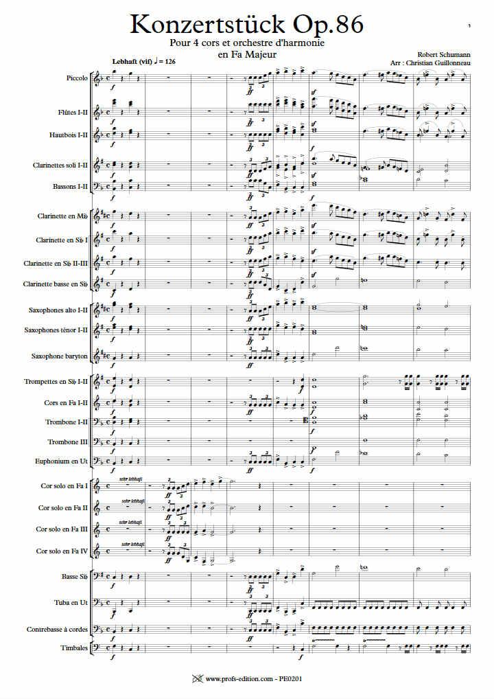 Concerto Konzertstuck - 4 Cors & Harmonie - SCHUMANN R. - Partition