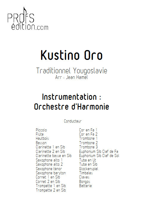 Kustino Oro - Orchestre d'Harmonie - TRADITIONNEL - page de garde