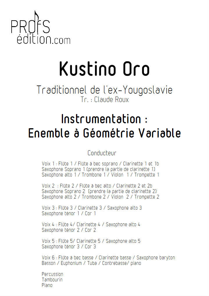 Kustino Oro - Ensemble Géométrie Variable - TRADITIONNEL YOUGOSLAVIE - page de garde